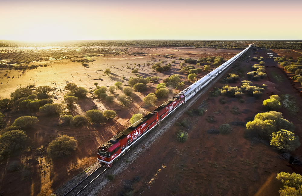 The Ghan & Red Centre with Sails in the Desert